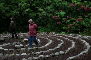 Labyrinth walkers at the park on World Labyrinth Day, May 5, 2012.